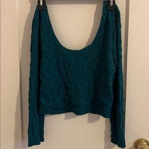 Urban Outfitters Green Long Sleeved Lace Crop Top